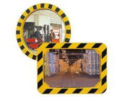 Vialux Industriespiegel Rahmen Gelb-Schwarz