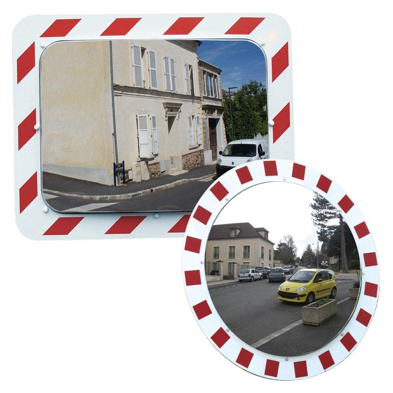 Vialux Verkehrsspiegel Edelstahl Rahmen Rot/Weiß